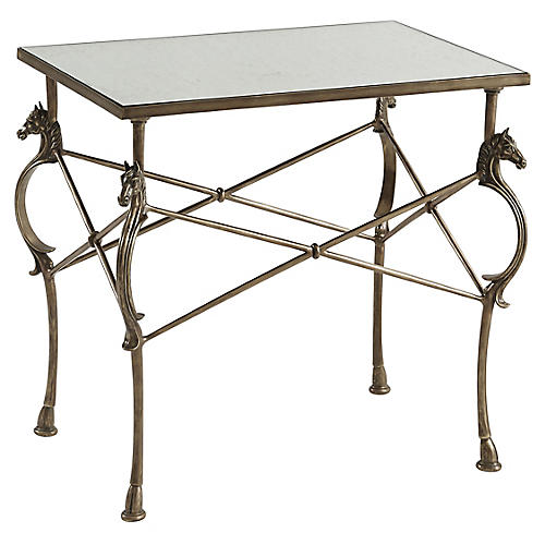 Julia Side Table, Antiqued Brass