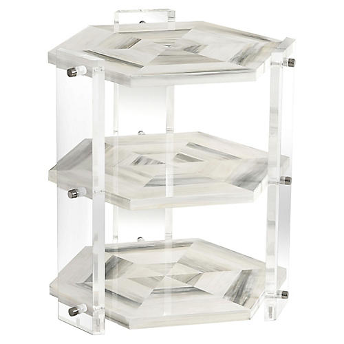 Quadrilateral Tiered Side Table, Ivory