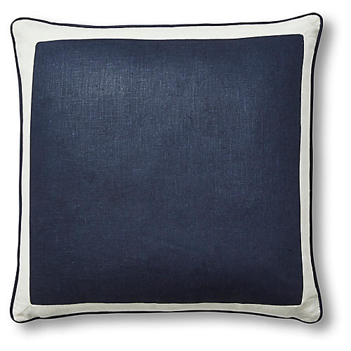 Amalfi 22x22 Pillow, Navy/White Linen