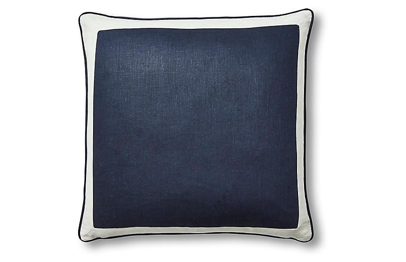 Amalfi 22x22 Pillow, Navy/White Linen