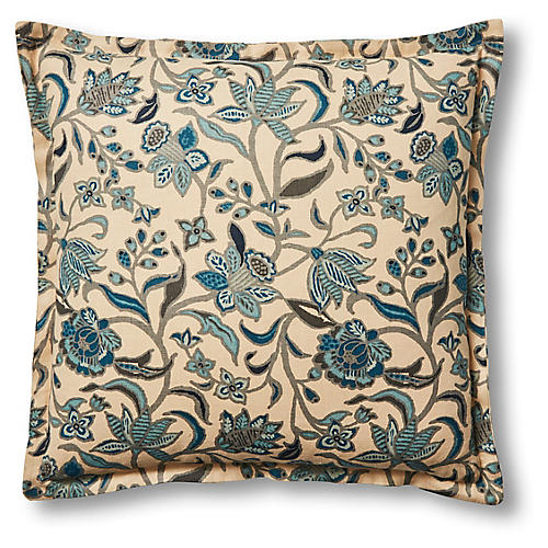 Madelyn 22x22 Pillow, Teal/Sand Linen