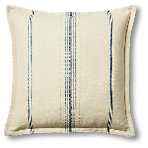 Sadie 22x22 Pillow, Oyster/Blue