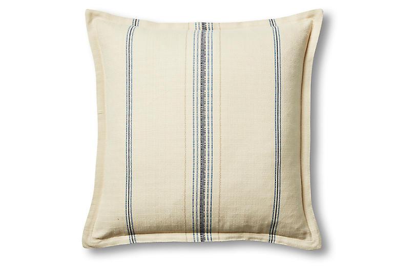 Sadie 22x22 Pillow, Oyster/Blue