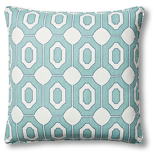 Raul 22x22 Pillow, Turquoise/Ivory Linen
