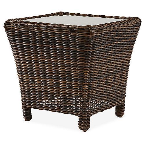 Del Ray Wicker Side Table, Chestnut