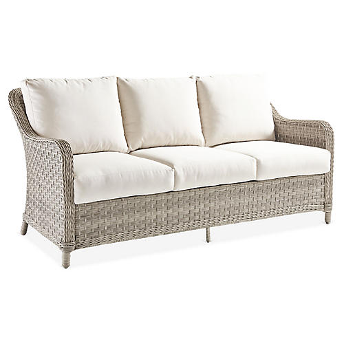 Mayfair Wicker Sofa, Gray/Canvas
