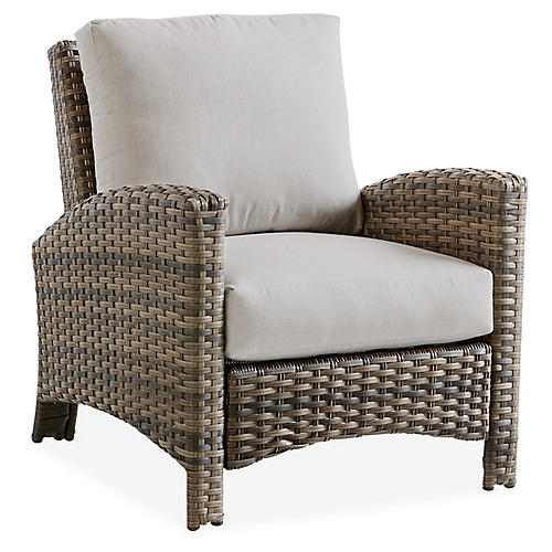 Panama Wicker Club Chair, Brown/Gray