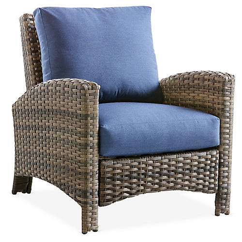 Panama Wicker Club Chair, Brown/Blue