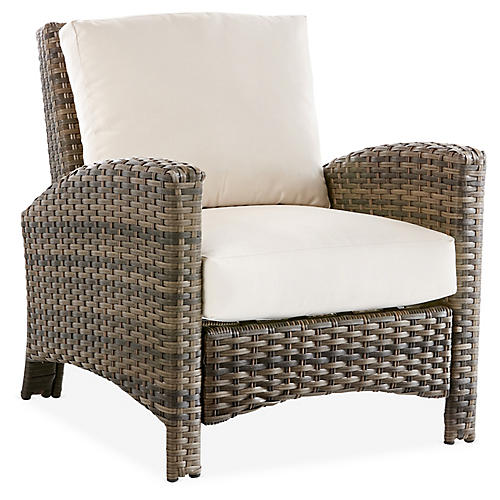 Panama Wicker Club Chair, Brown/Canvas