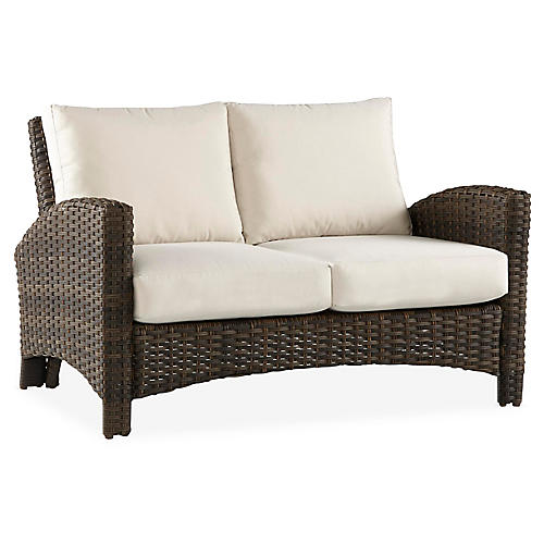 Panama Wicker Loveseat, Brown/Canvas