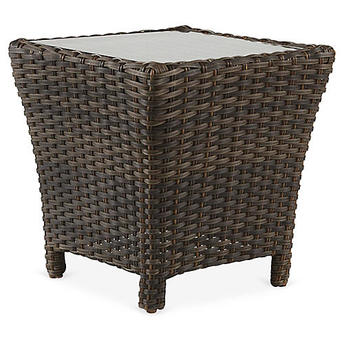 Panama Wicker Side Table, Brown