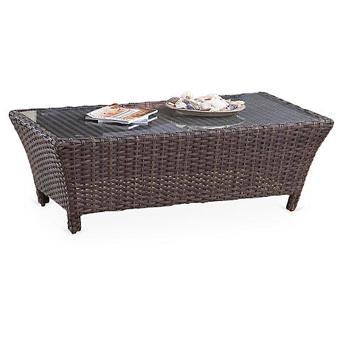 Panama Wicker Coffee Table, Brown