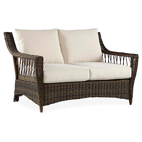 St. John Wicker Loveseat, Brown/Canvas