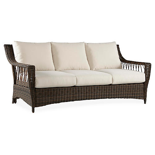 St. John Wicker Sofa, Brown/Canvas