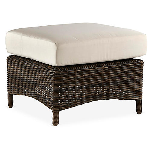 St. John Wicker Ottoman, Brown/Canvas