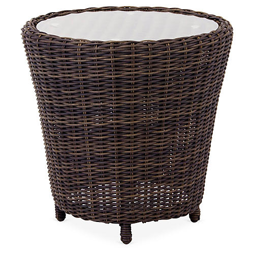 St. John Wicker Side Table, Brown