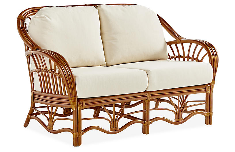 Palm Harbor Rattan Loveseat, Natural/White