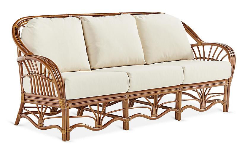 Palm Harbor Rattan Sofa, Natural/White