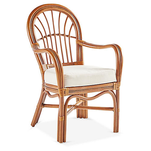 Palm Harbor Rattan Armchair, Natural/White