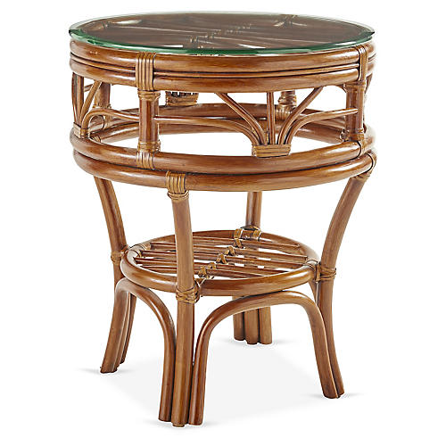 Palm Harbor Rattan Side Table, Natural