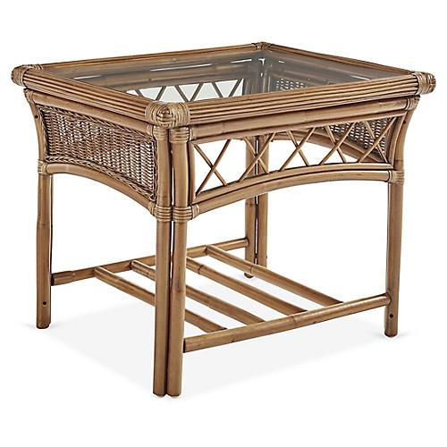 Bali Rattan Side Table, Almond Brown