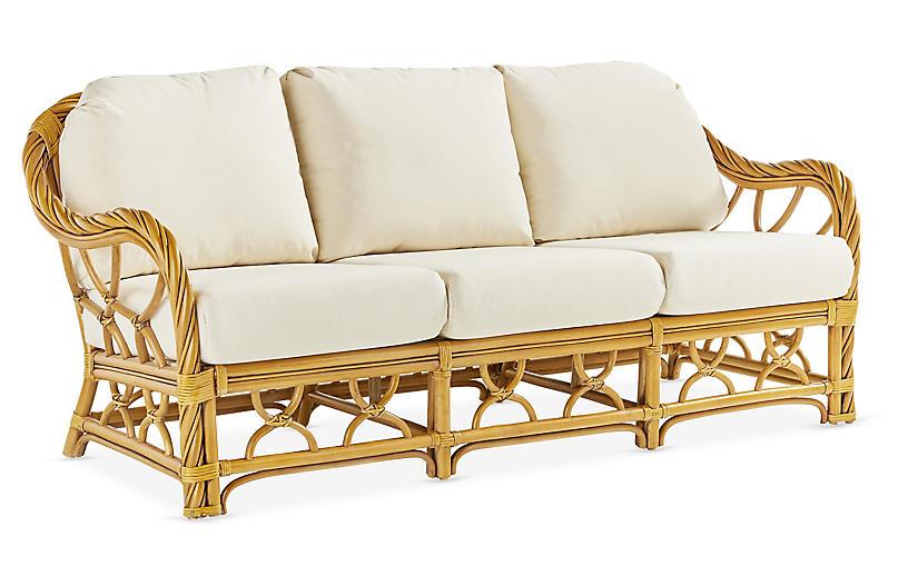 New Twist Rattan Sofa, Natural/White