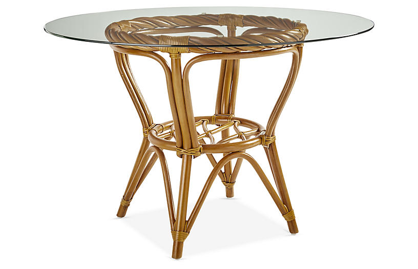 New Twist Rattan Round Dining Table, Natural