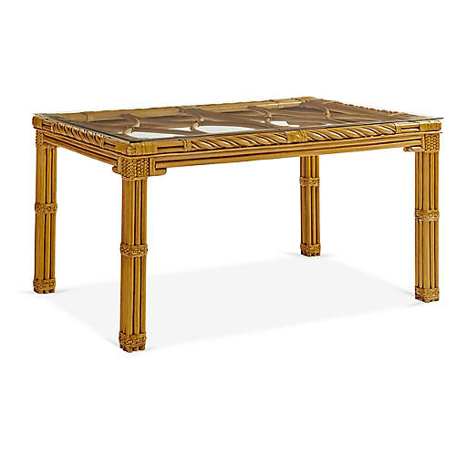 New Twist Rattan Square Dining Table, Natural