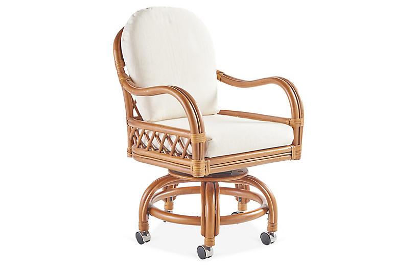 Antigua Rattan Swivel Chair, Natural/White