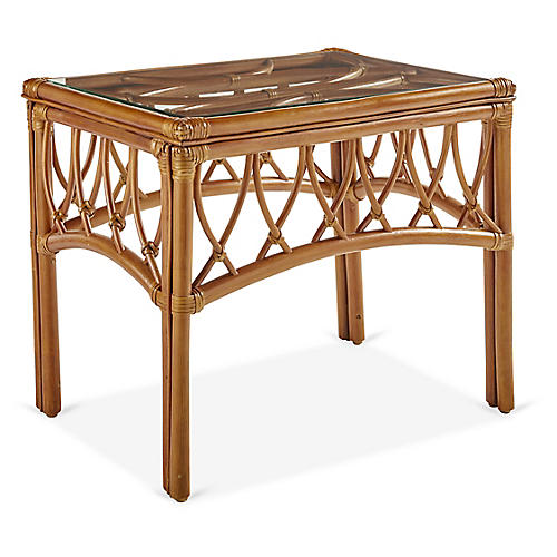 Antigua Rattan Side Table, Natural