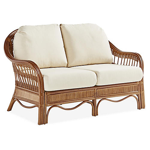 Bermuda Rattan Loveseat, Natural/White