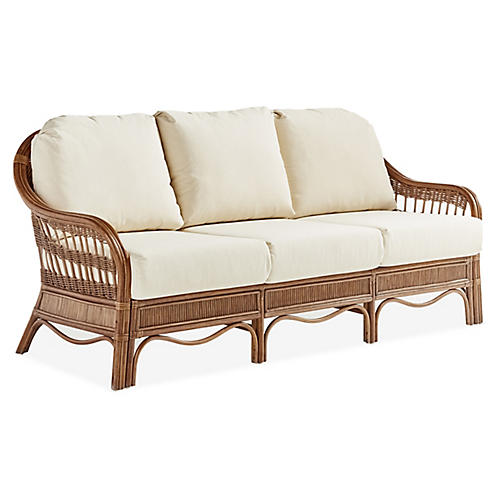 Bermuda Rattan Sofa, Natural/White