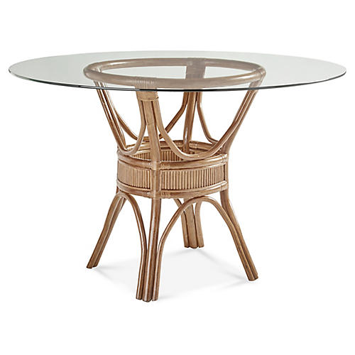 Bermuda Rattan Round Dining Table, Natural