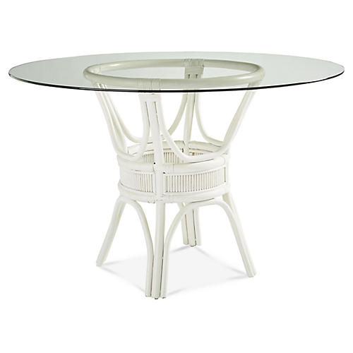 Bermuda Rattan Round Dining Table, White