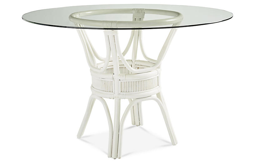 Bermuda Rattan Round Dining Table White