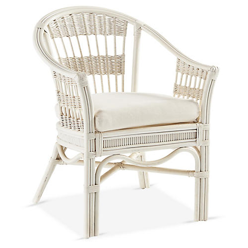 Bermuda Rattan Captains Chair, White