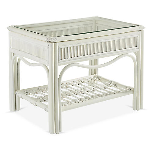 Bermuda Rattan Side Table, White
