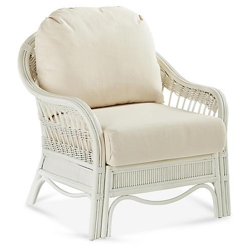 Bermuda Rattan Chair, White
