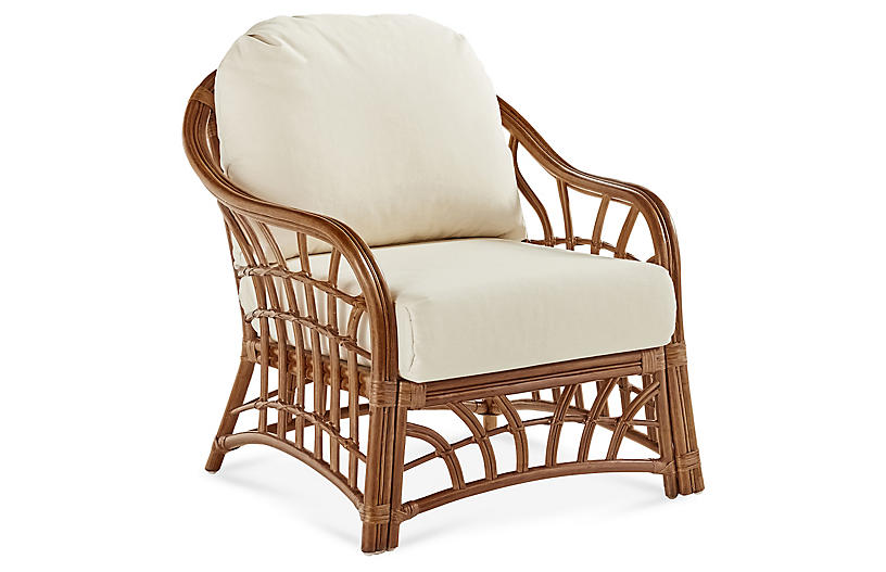 New Kauai Rattan Club Chair, Natural/White