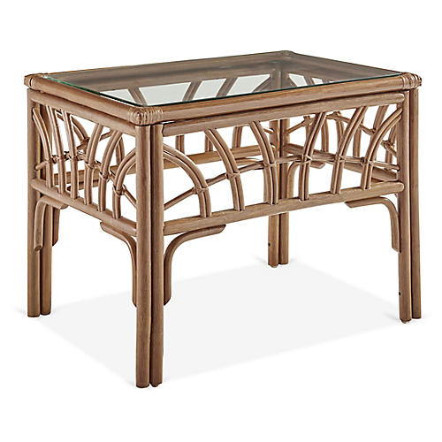 New Kauai Rattan Side Table, Natural