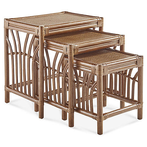 New Kauai Rattan Nesting Tables, Natural