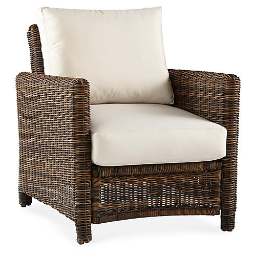Del Ray Wicker Club Chair, Chestnut/Canvas