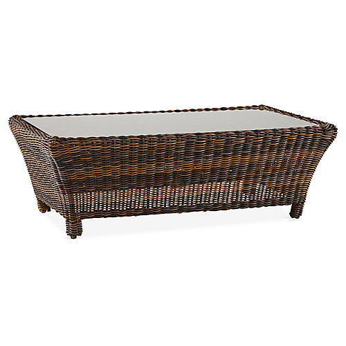 Del Ray Wicker Round Coffee Table, Chestnut