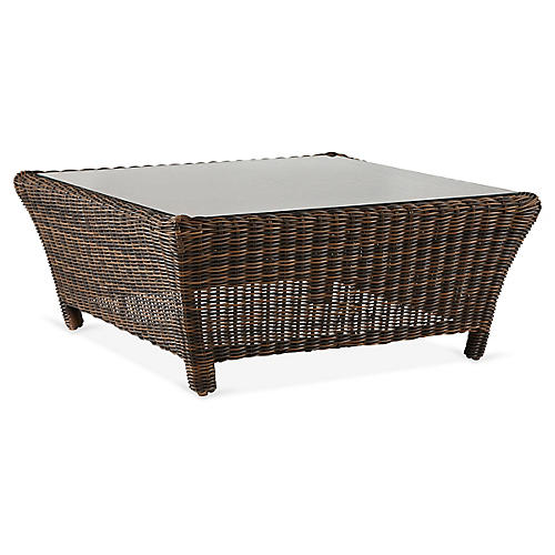 Del Ray Wicker Square Coffee Table, Chestnut