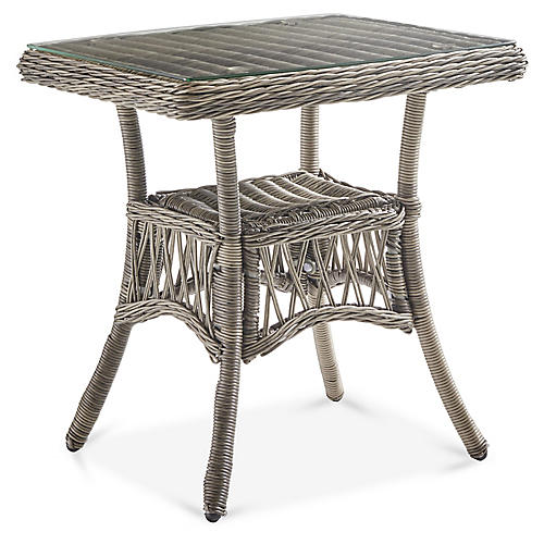 Westbay Glass Side Table, Slate Gray
