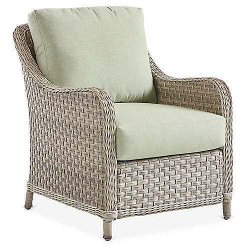 Mayfair Wicker Club Chair, Gray/Green