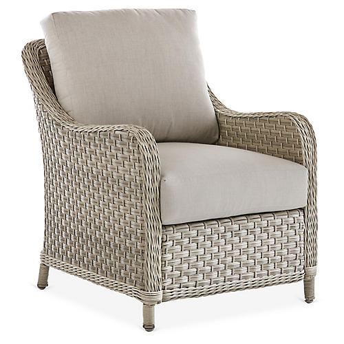 Mayfair Wicker Club Chair, Gray