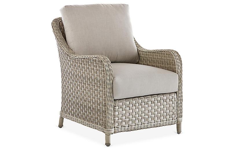 Mayfair Wicker Club Chair, Gray