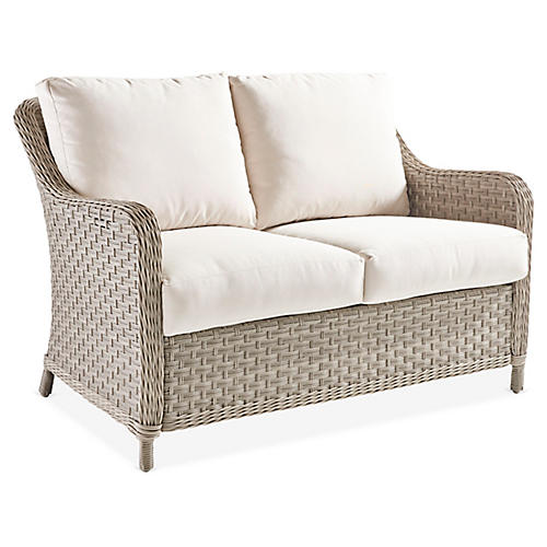 Mayfair Wicker Loveseat, Gray/Canvas