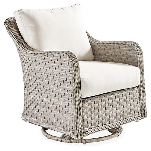 Mayfair Wicker Swivel Glider, Gray/Canvas